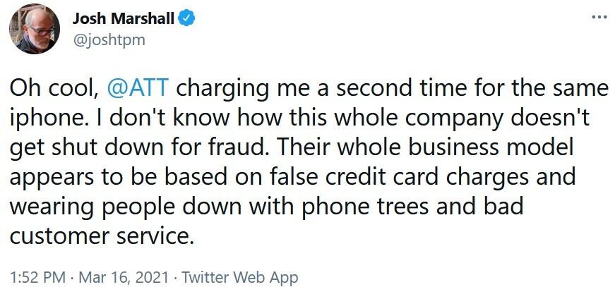 Un resumen rápido del incidente tuiteado por Josh Marshall: el cliente de AT&T se queja ante NY AG y la FCC sobre el operador