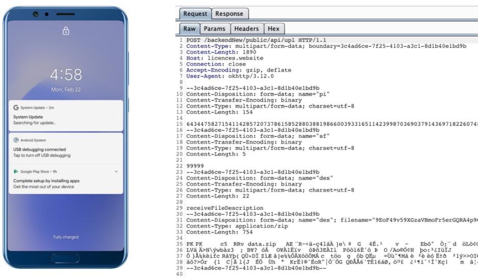 La notificación en el teléfono en esta imagen es del software espía, no de la aplicación - Usuarios de Android: ¡bajo ninguna condición debe descargar este software espía en su teléfono!