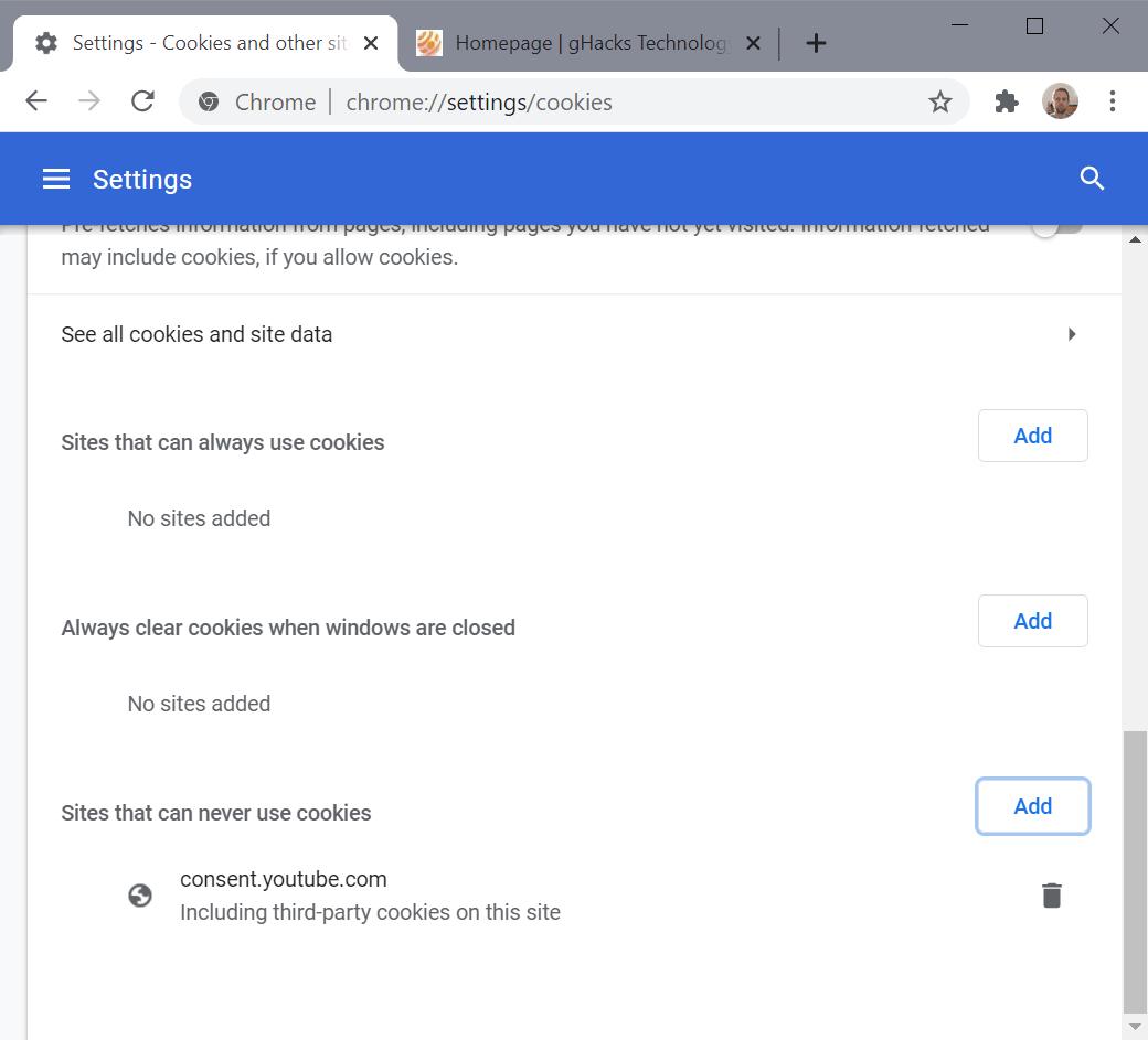 bloque de google chrome youtube