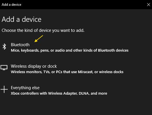 Bluetooth Agregar dispositivo mínimo