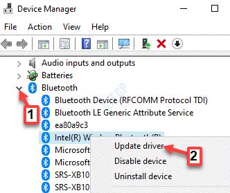 Administrador de dispositivos Bluetooth Dispositivo Bluetooth Haga clic con el botón derecho en Actualizar controlador