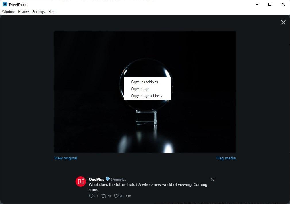 Menú contextual de la imagen Atomic TweetDeck