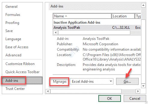 Opciones de Excel Complementos Administrar Ir