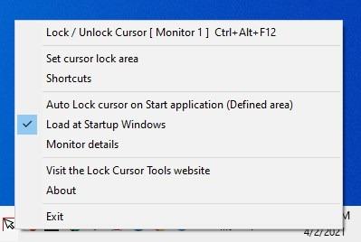Bloquear el menú de la bandeja de herramientas del cursor
