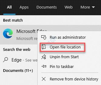 Resultado Ubicación del archivo abierto de Microsoft Edge