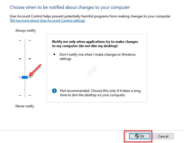 Configuración de control de cuentas de usuario Notificarme solo cuando las aplicaciones intenten realizar cambios en mi computadora (no atenuar mi escritorio)