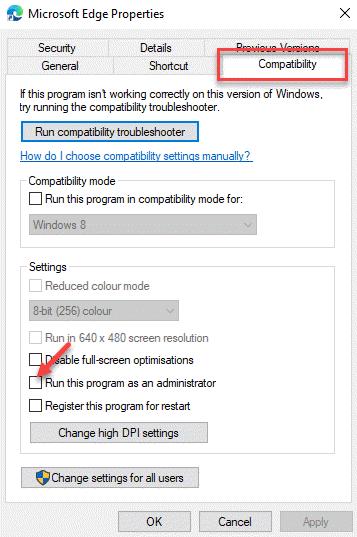 Compatibilidad de las propiedades de Microsoft Edge Ejecute este programa como administrador Desmarque