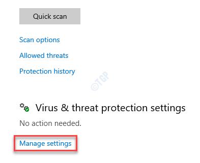 Protección contra virus y amenazas Administrar la configuración