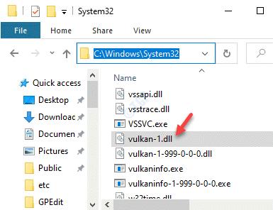 Explorador de archivos Navegar a System32 Pegar el archivo Vulkan 1.dl