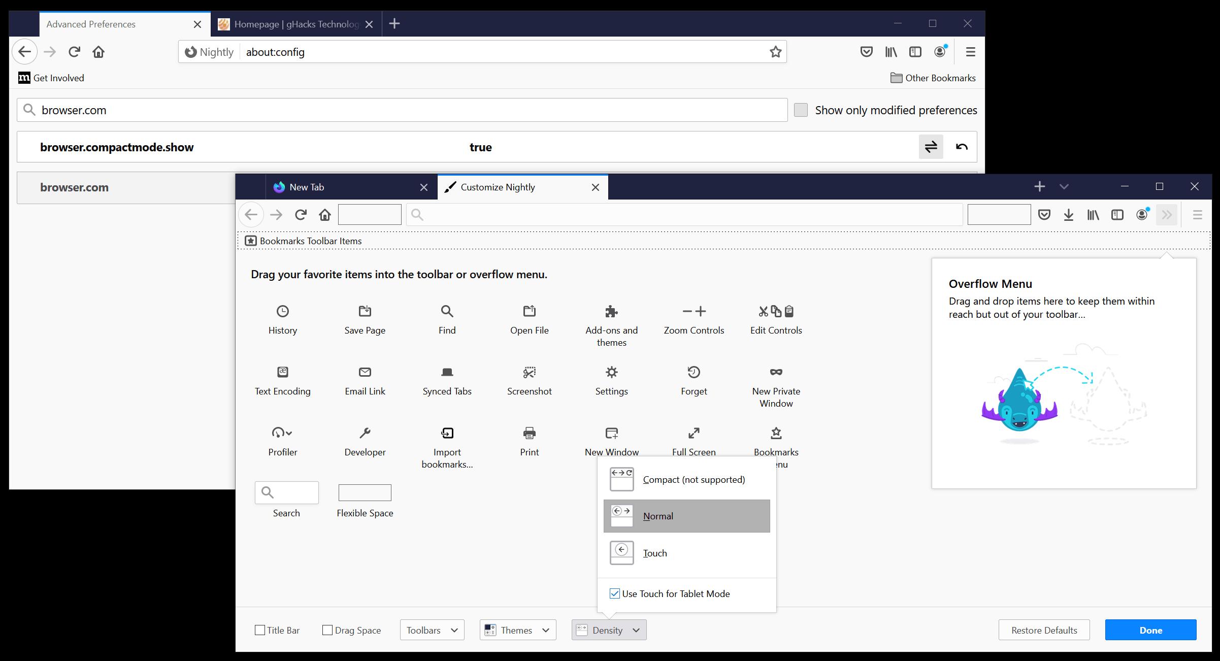 Firefox muestra el modo compacto
