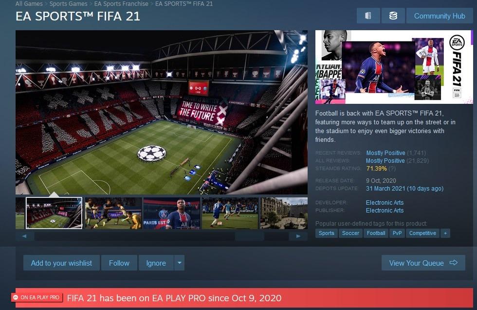 Información de suscripción EA Play