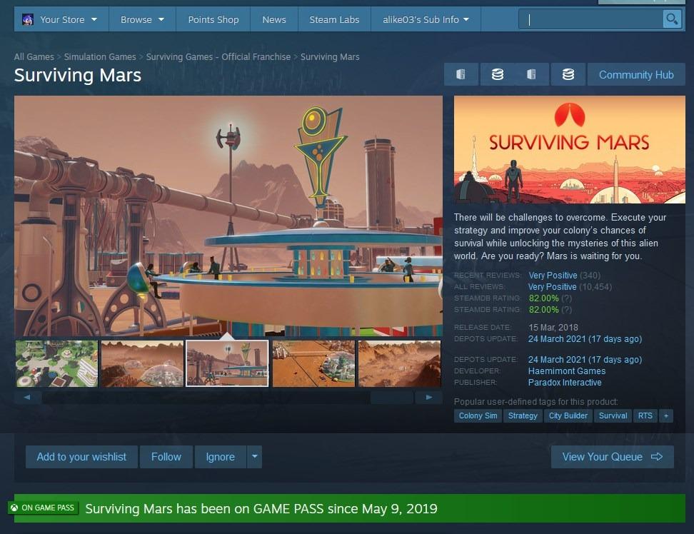 Información de suscripción página del juego Steam