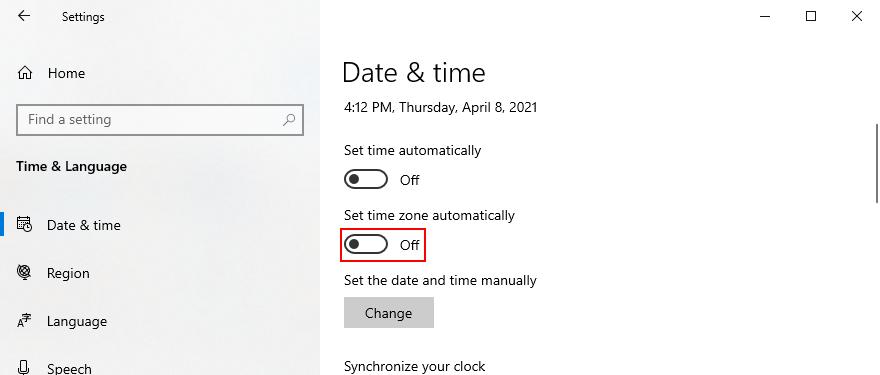 Windows 10 muestra cómo deshabilitar la zona horaria automática