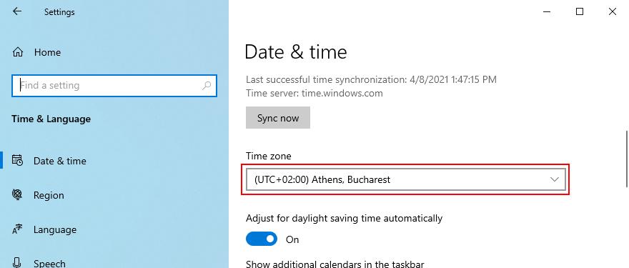 Windows 10 muestra cómo cambiar la zona horaria
