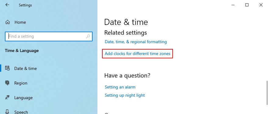 Windows 10 muestra cómo acceder a la opción de agregar relojes para diferentes zonas horarias