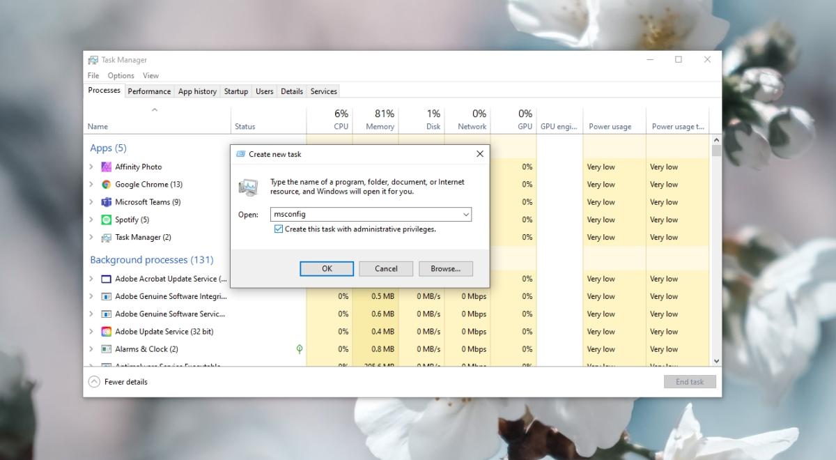 Abra MsConfig Windows 10