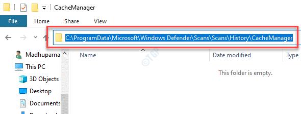 Explorador de archivos Navegar a la carpeta Cachemanager en Windows Defender debe estar vacío