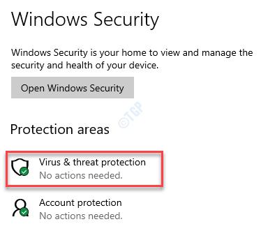 Áreas de protección de seguridad de Windows Protección contra virus y amenazas