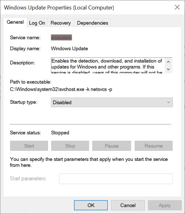 actualización de windows servicio deshabilitado