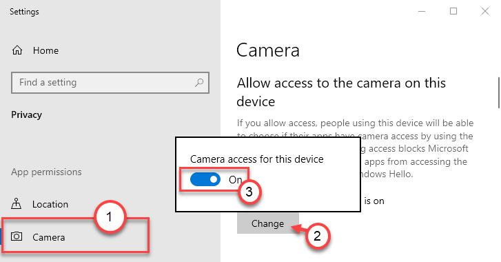 Acceso a la cámara al mínimo de apagado