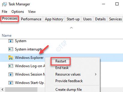 Procesos del Administrador de tareas Explorador de Windows Reiniciar con el botón derecho