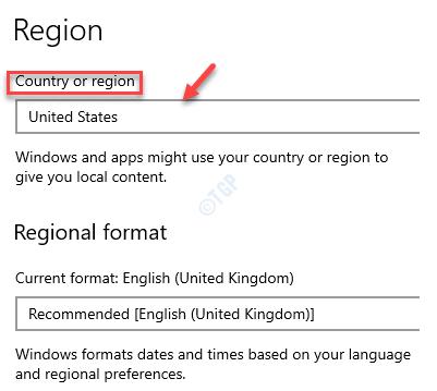 Configuración Hora e idioma Región País o región Estados Unidos