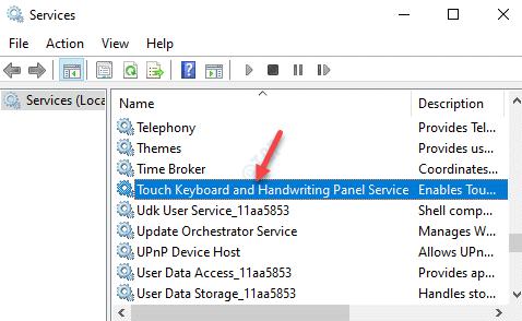 Servicios Nombre Teclado táctil y panel de escritura a mano Servicio Doble clic