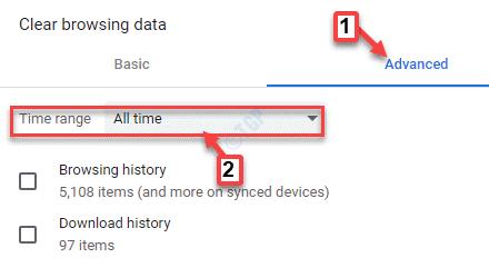 Borrar datos de navegación Rango de tiempo avanzado Todo el tiempo