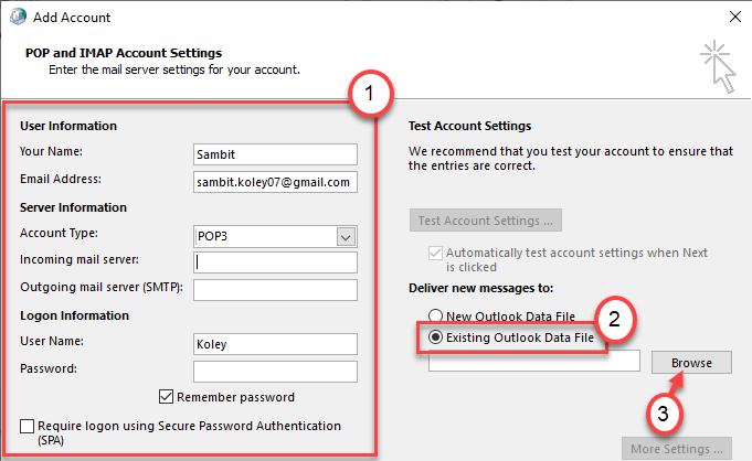 Mínimo de exploración de Outlook existente