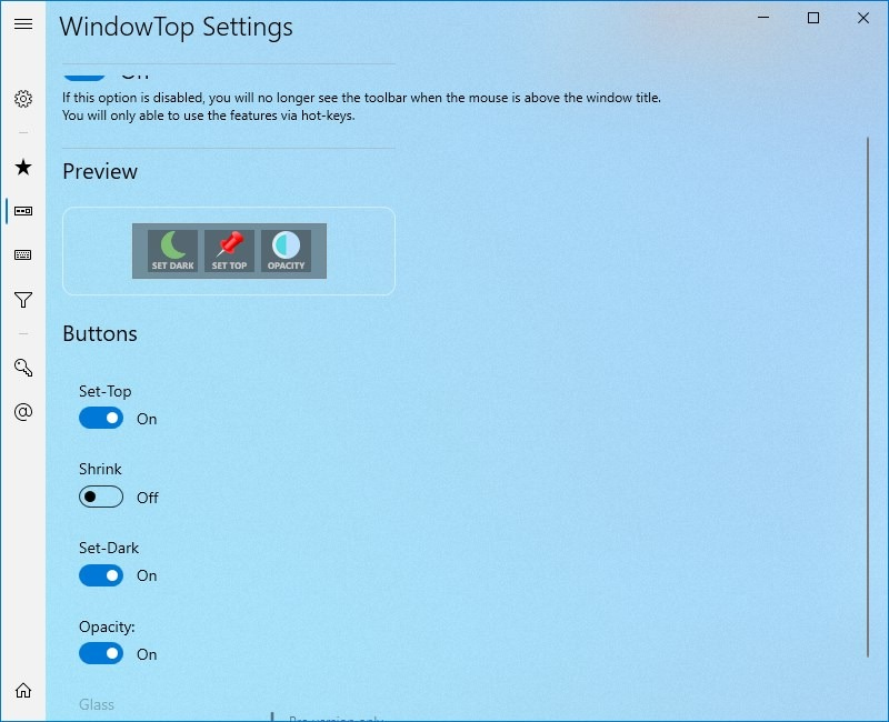 Configuración de WindowTop - botones