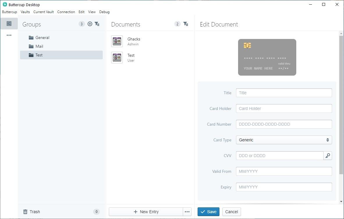 Buttercup 2.0 - agregar campos de tarjeta de crédito