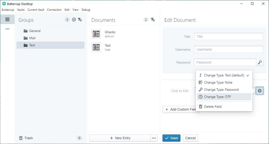 Actualización de Buttercup 2.0 - agregar OTP