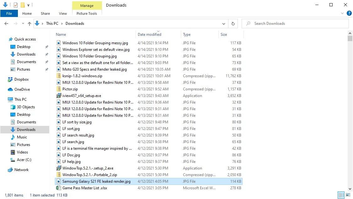 Agrupación de carpetas de Windows 10 deshabilitada