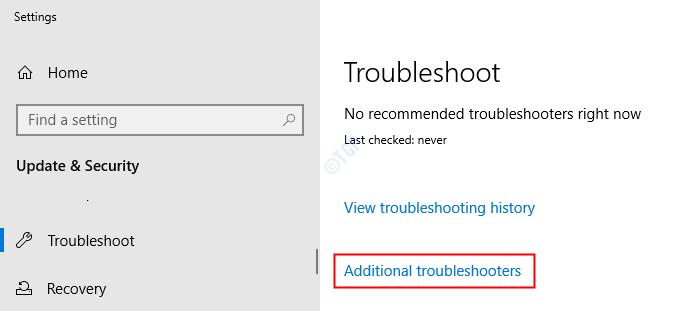 Haga clic en Solucionadores de problemas adicionales