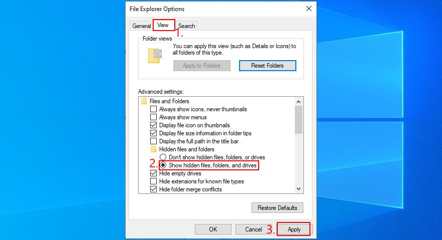 Windows 10 revela cómo mostrar archivos, carpetas y unidades ocultos