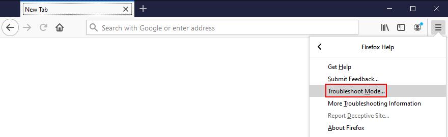 Mozilla Firefox muestra cómo acceder al modo de resolución de problemas desde el menú
