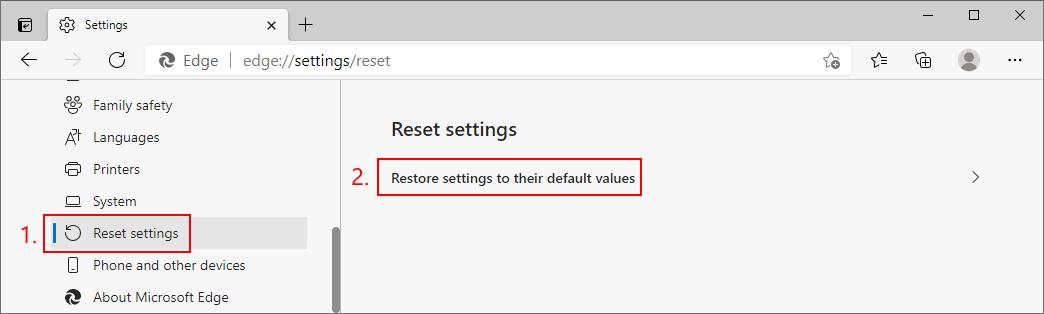 Microsoft Edge muestra cómo restablecer la configuración