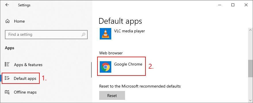 Windows 10 muestra cómo configurar el navegador web predeterminado