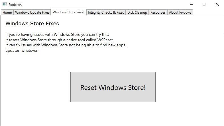 Fixdows Restablecer la tienda de Windows