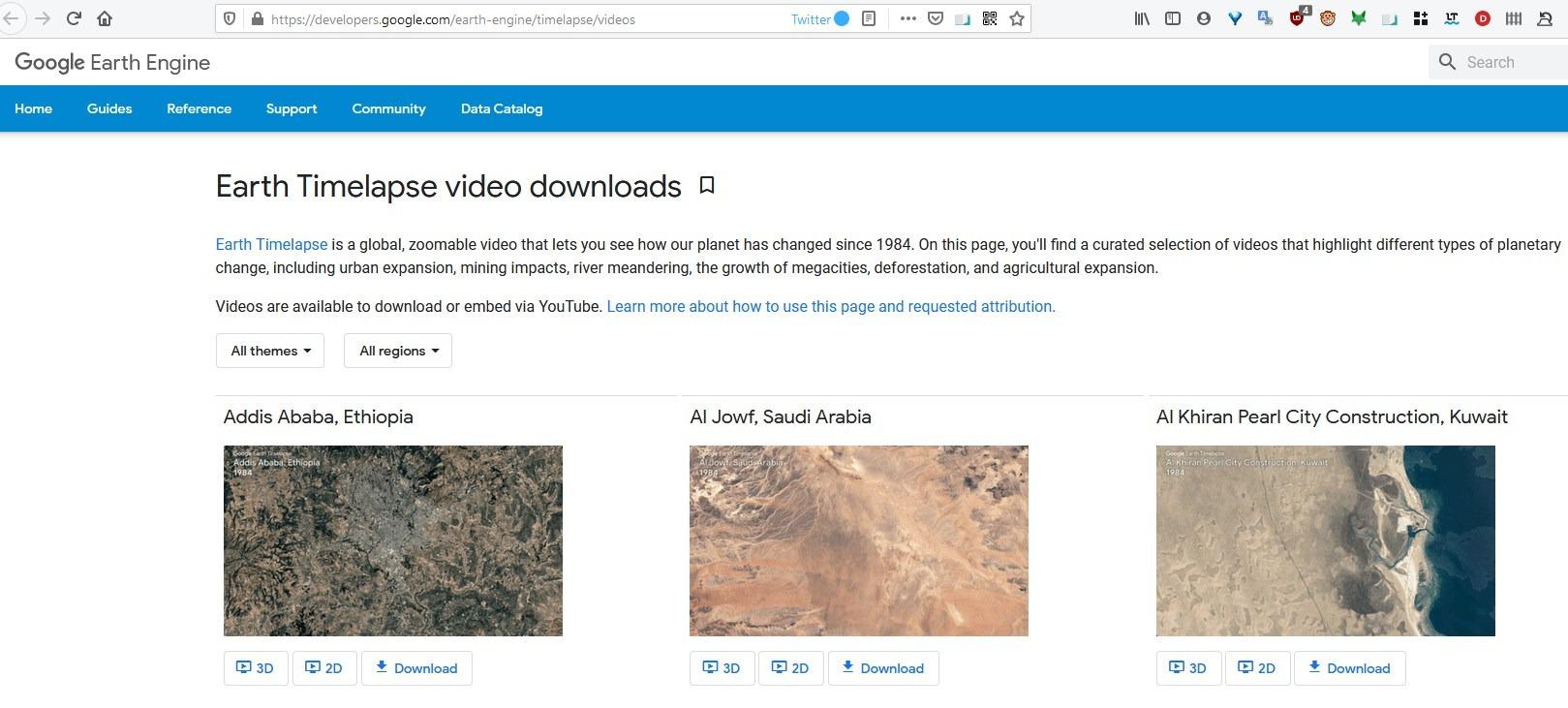 Vídeos de Google Earth Timelapse