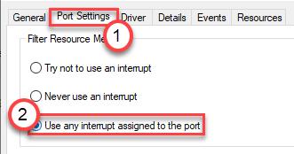 La configuración del puerto utiliza cualquier intervalo mínimo asignado