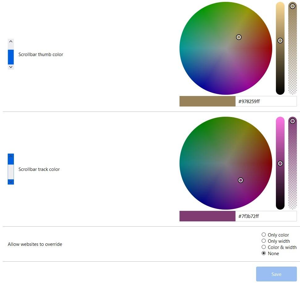 Las barras de desplazamiento personalizadas establecen un color personalizado