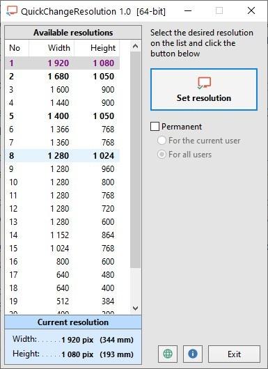 Cambie la resolución de su monitor principal instantáneamente con QuickChangeResolution