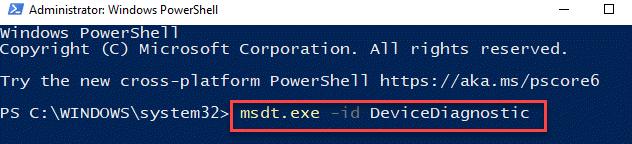 Windows Powershell (admin) Ejecutar comando para ejecutar el solucionador de problemas de hardware y dispositivos Ingrese