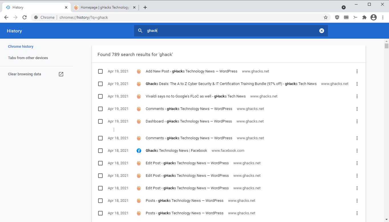 historia de Chrome