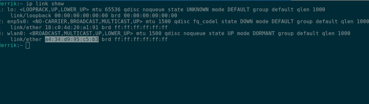 Dirección MAC de Linux
