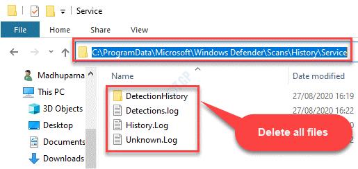 Explorador de archivos Navegue a la carpeta de servicio en Windows Defender Seleccione Todos los archivos Eliminar