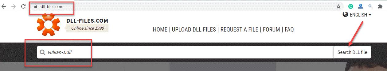 Archivos dll Campo de búsqueda de sitios web Vulkan 1.dll Buscar archivo Dll