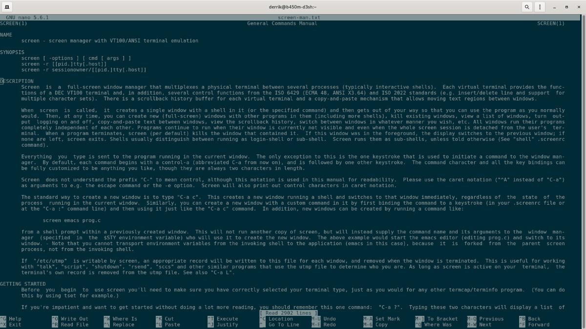 Nano editor de texto en Linux