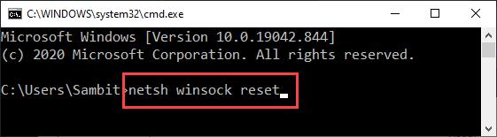 Netsh Winsock Reset Nuevo